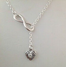 """Rhinestone Heart Pendant  Infinity symbol Lariat Silver Plated 19"""" Necklace"""