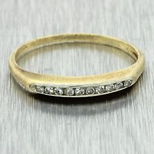 1920s Antique Art Deco Estate 14k Solid Yellow Gold .10ctw Diamond Band Ring