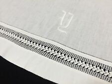 Vintage Twin Size Crochet Lace, Monogrammed Flat Top Sheet, White, Cotton (RF522