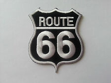 CLASSIC AMERICAN HIGHWAY ROAD SIGN SEW / IRON ON PATCH:- ROUTE 66 WHITE / BLACK
