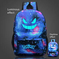 Back Pack Pokemon Gengar Face Luminous School Games Bag Blue backpack FREE GIFT