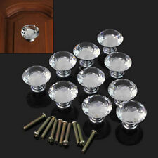 10PCS Diamond Crystal Glass Clear Handle Door Cabinet Drawer Knobs 30mm Set ft