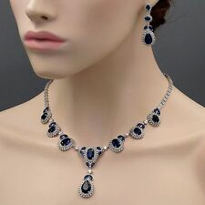 18K White Gold GP Sapphire Zirconia CZ Necklace Earrings Wedding Jewelry Set 397