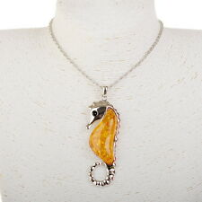 Silver Plated Sea Horse Baltic Faux Amber Stunning Yolk Chain Necklace Pendant
