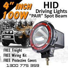 HID Xenon Driving Lights - Pair 4 Inch 100w Spot Beam 4x4 4wd Off Road 12v 24v