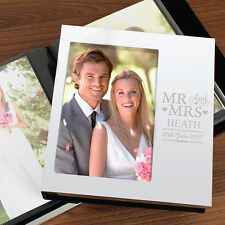 Personalizzata Mr & Mrs ALLUMINIO SILVER PHOTO ALBUM 6x4 Wedding Day regalo