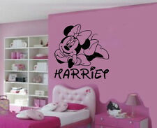 Personalised Minnie Mouse Removable Vinyl Wall Art Sticker/Decal Mural DIY
