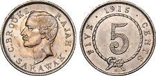 1915 H Sarawak Silver 5 Cents  KM. 8 NGC UNC C. Brooke Rajah Scarce Coin