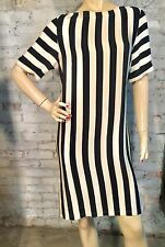 BCBG MAX AZRIA SHIFT DRESS SMALL S VERTICAL BOLD STRIPE BLACK BEIGE SILK NEW
