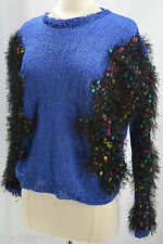 Designer shaggy shabby fringe bouncle Sweater Knit Top pullover silky SZ M L NEW
