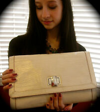 KATE SPADE NY MARBLE HEAD PAOLA CREAM IVORY LINEAR EMBOSSED CLUTCH SHOULDER BAG