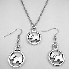 1set of Vintage silver puppy Pendant Necklace & earrings popular accessories