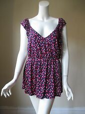 Urban Outfitters LUX Navy Red Tulip Prints Wide V Neck Open Back Stretch Top L