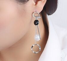 Silver Tone Korean Style Tassel Pearl Ear Stud Drop Dangle Stud Earrings Gift S1