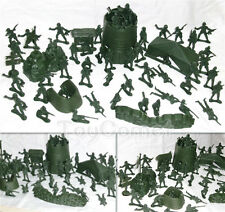 57 pcs Military Base Model Plastic Toy Soldier Green 5cm Figure Army Men Playset
