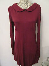 TOPSHOP - BURGANDY LONG SLEEVED COLLARD NECK 100% VISCOSE DRESS Size 10