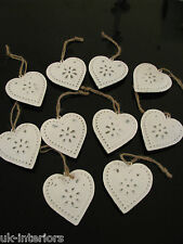 Set of 10 Vintage Hanging HEART Metal Shabby Chic Decoration