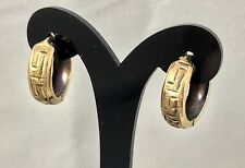 Embossed Design 10K Yellow Gold Hoop Earrings