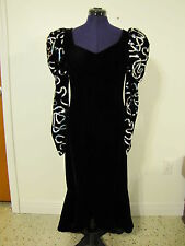 Vtg Hollywood Glam Gangster Madame Black w/ Silver 80's Dress Halloween Costume