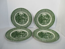 Old Curiosity Shop Green Dinner Plates Royal China Transferware Store Set of 4