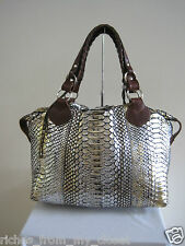 PAURIC SWEENEY Metallic Gold and Silver Python Shoulder Bag Handbag