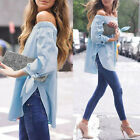 Womens Off Shoulder Split Long Sleeve T Shirt Casual Loose Tops Blouse Plus NE