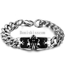 Mens Boys Stainless Steel Black Celtic Fleur De Lis ID Cuban Link Chain Bracelet