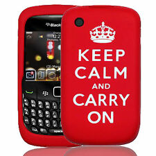 Silicone Case Cover For Blackberry 8520 Red Keep Calm and Carry On