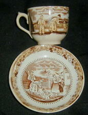 ANTIQUE BROWN TRANSFERWARE CUP & SAUCER, CHINOISERIE, CHINA DECORATION, ENGLAND?
