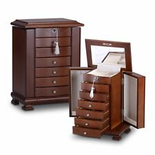 Large Brown Wooden Jewellery Box Gift Armoire  Necklace Chest Stand Organiser