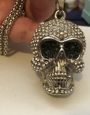 """Crystal Skull With Dark Sunglasses! Pendant Long  26"""" Necklace"""