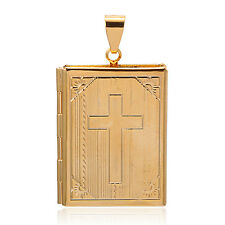18K Yellow Gold Plated Cross Pendant Vintage Luck Locket Picture For Women/Men