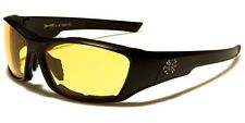 Mens CHOPPERS Motorcycle Night Driving Riding Glasses Padded Yellow Lens Goggles
