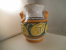 Vintage Made in Italy Art Pottery Two Handled Vase Yellow Fruit