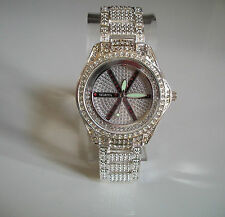 Silver finish hip hop metal bracelet floating CZ  club watch