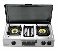 Gas Stove Grill with LID 3 burner Portable Camping Caravan Cover 9.7kW WOK G-87C
