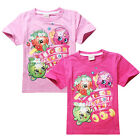 Lovely Fruit Design Top Kids Girls Clothes Casual Shopkins Cartoon T-Shirts 4-10