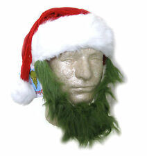 Santa Claus Hat & Green Grinch Beard Combo Adult Christmas Costume Accessory