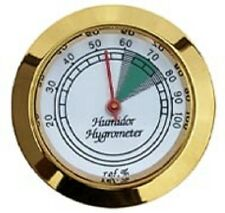 """Calibrate-able Gold Frame Hygrometer for Cigar Humidor 1 3/4"""" Dia. Face"""