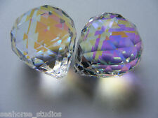 2 (two) ASFOUR Aurora Borealis CRYSTAL faceted 30MM AB PRISM balls! Suncatchers!