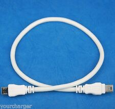 1ft 30cm Micro USB Type B male to mini USB B male WHITE Host OTG Adapter Cable