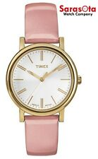 Timex T2P332 White Dial Gold Tone Pink Leather Indiglo Classic Women's Watch