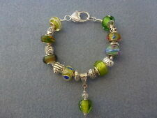 *Handmade Luxury Green Chunky Glass Lampwork Beaded Charm Bracelet - Great Gift*