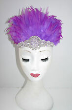 Pink Purple & Silver Feather Headdress Headband 1920s Showgirl Carnival 30s Y37