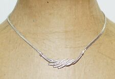 "Avon White Crystal Rhinestone Silver Plated 16"" Choker Necklace"