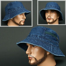BUCKET JBJ L BLUE FEDORA CAP HAT SUN Shade Visor Distressed Denim Jean Crusher