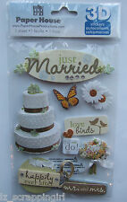 ~JUST MARRIED~ Paper House Productions 3D Stickers; WEDDING Ceremony Reception