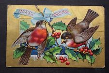 c.1909 Christmas Postcard Gold Embossed XMAS Bird Series - Robins - posted