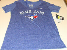 Toronto Blue Jays MLB Baseball XS Ladies Women V Neck Marled Mid T Shirt Top