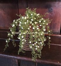 Primitive Country Cottage Spring Baby's Breath Flowers Hanging Bush Spray